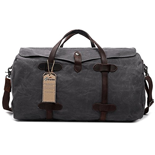 Mens Large Duffle Bag, Fresion Vintage Canvas Overnight Holdall Durable Travel Totes Large Capacity Holdalls Sport Gym Bags 55L Grey