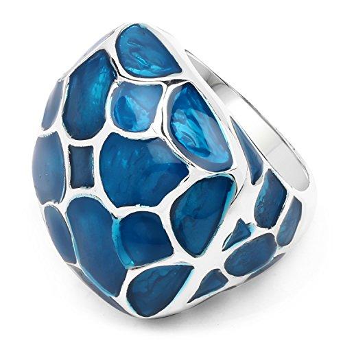 Johareez Plain Metal Blue Enamel Ring