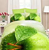 155x200 3D Bettwäsche Bettbezüge Bettwäschegarnituren Bettwäscheset Microfaser 3tlg schöne Farben und Muster Apfel grün FPP 25