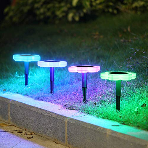FeiliandaJJ 2Pcs Solar Garten Licht Weg Licht Wasserdicht Wireless Farbwechsel Beleuchtung Lichterkette Hochzeit Party Yard Garten Rasen Landschaft Lampe (Weiß)