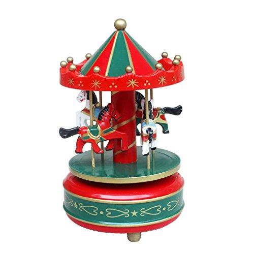 Greenery bambini ragazze dei giocattoli per bambini Craft Christmas Merry Go Round Music Box Playing (Ragazze Music Box)