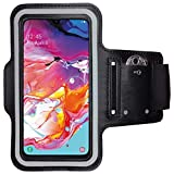 CoverKingz Armtasche für Samsung Galaxy A70 Sportarmband mit Schlüsselfach, Laufarmband Fitness, Handy Armband Schwarz