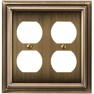 Amerelle 94DDBB Continental Cast Metal Wallplate with 2 Duplex Outlet, Brushed Brass