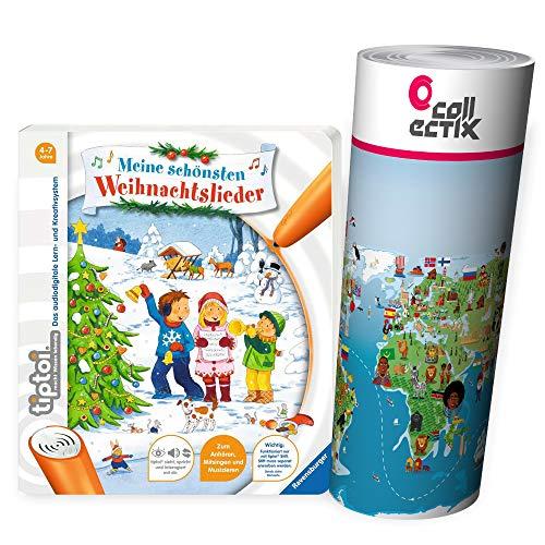 Ravensburger tiptoi® Weihnachten Musik Kinder Lieder Buch   Meine schönsten Weihnachtslieder + Kinderlieder Wimmel-Weltkarte
