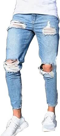 Pantaloni Strappato per Uomo, Moda Skinny Denim Pantaloni a Vita Media Slim Fit Stretch Straight Casual Jeans Pantaloni con Tasche S-4XL