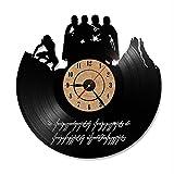 12inches Cool Design Le Seigneur des Anneaux Art Vinyl LED Horloge murale chambre moderne Décoration Murale Vintage Antiquité Creuse Horloge murale, Vinyle, B