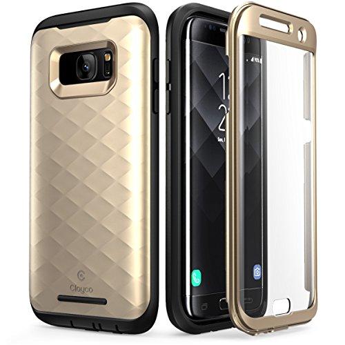 Galaxy S7 Edge Hülle, Clayco [Hera Serie] Schutzhülle Ganzkörper Handyhülle Kratzfest Case/Cover mit eingebautem Bildschirmschutz für die Samsung Galaxy S7 Edge (2016 Ausgabe) (Gold)