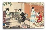 Yōshū - Chiyoda Castle (Frauenalbum) (Meiji period (1868–1912)), 60 x 40 cm (weitere Größen verfügbar), Leinwand auf Keilrahmen gespannt und fertig zum Aufhängen, hochwertiger Kunstdruck aus deutscher Produktion