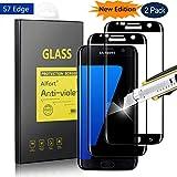 Samsung Galaxy S7 Edge Panzerglas, [2 Stück] Alfort 3D Rand Schutzfolie S7 Edge Panzerfolie Volle Abdeckung Anti-Kratzen 0.26mm Dünn Displayschutzfolie für Samsung S7 Edge Schutzglas - Noir