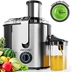 Monzana Entsafter für Obst und Gemüse aus Edelstahl Motorleistung max. 1100W große 85 mm Einfüllöffnung inkl. Reinigungsbürste und Saftbehälter 3 Geschwindigkeitsstufen