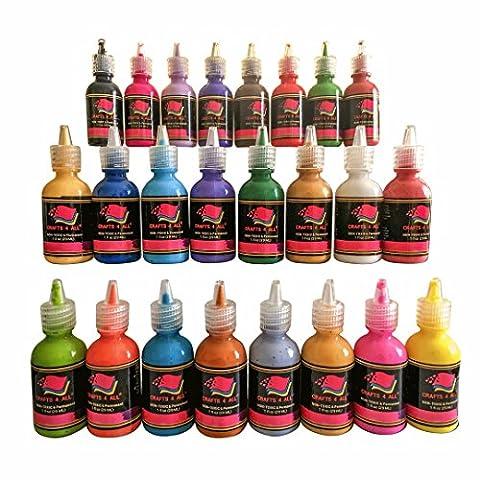 Tissu Peinture 24 couleurs Premium Qualité 3D permanente couleur vibrante peintures teintes pour tissu, toile, bois, céramique, verre par Artisanat 4 ALL