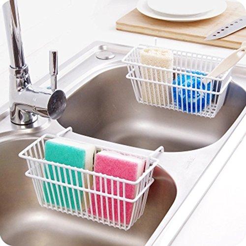 Küchen Spüle Licht Oben (CGN Küche Küche Utensilien Eisen Spüle Drainage Rack Waschbecken Bürste Rag Aufbewahrung Rack Schwamm Ablauf Rack Multifunktions weiß)