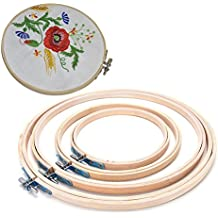 BESTIM INCUK Embroidery Hoop Set Bamboo Circle Cross Stitch Hoop Ring for DIY Arts Crafts, 4 Sizes
