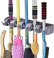 Rylan Multipurpose Organizer Storage Hooks Wall Mounted Magic Mop and Broom Holder (Grey, Large)