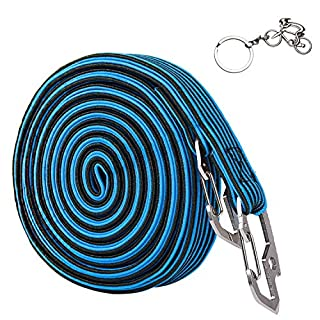 Elastischer Spanngurt, 2und 4Meter lange, verstellbare Gepäck-Gürtel mit Karbonstahl-Haken, für Outdoor-Aktivitäten und zum Befestigen von Gepäck und Rucksäcken, 4Farben, Herren, 4M-Blue
