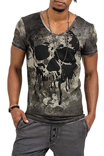 trueprodigy Casual Herren Marken T-Shirt mit Aufdruck, Oberteil cool und stylisch mit V-Ausschnitt (kurzarm & Slim Fit), Shirt für Männer bedruckt Farbe: Khaki 1073159-0629-XL (V-neck T-shirt Casual)