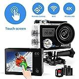 Action Cam, Helmkameras, Ultra HD 4K Actionkameras, Wasserdicht, Anti-Shake, mit Helmbasis/Unterwasser-Gehäuse/WiFi-Fernbedienung / 170 Grad Fischaugen-Objektiv / 2 wiederaufladbare Batterien