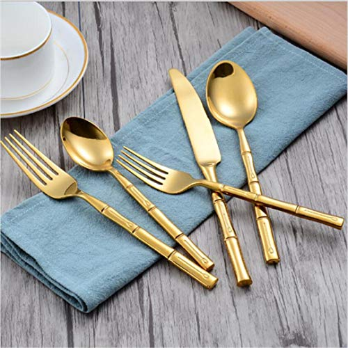 JIEHUSHI Geschirr Set plattiert Rose Gold Schwarz Messer Gabeln Geschirr Sets Edelstahl Besteck Bambus Abschnitt Muster 5 Stücke Gold (Koch Rosa Messer-set)