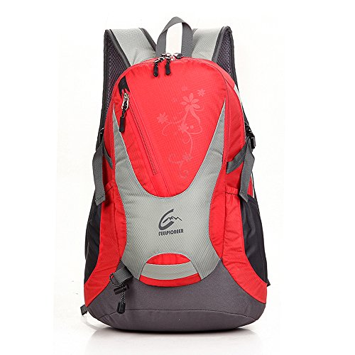 sfeibo scuola Zaini moda stampa Graffiti Zaino 30L nylon impermeabile zaino Campeggio Ciclismo Arrampicata Escursionismo Zaino Borsa da viaggio, donna Uomo, rosered Red