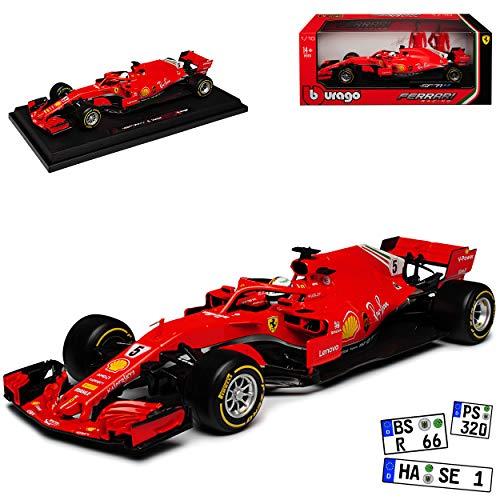 Bburago Ferrari SF71H Nr 5 Sebastian Vettel Saison 2018 mit Sockel 1/18 Modell Auto