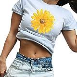 Linkay Femme Chemisier Femme Manche Courte Été Tops Imprimé Fleur Col Rond T-Shirt Ample Blouse Mode 2019