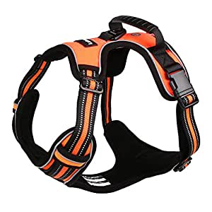 Lalawow Dog Harness with Handle No Pull Leash D-Ring Reflective (M (15.75-27.56inch), Orange)