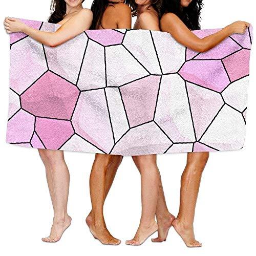 Gebrb Duschtücher/Badetücher,Strandtücher, Bath Towel, Floor Tile Pink White, Super Soft Ultra Absorbent Bath Towel Beach Towels for Women, Bath Set Bathroom Accessories - Ultra White Tile