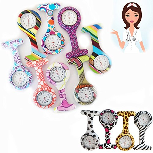 New-Pattern-Print-Nurse-Watch-FOB-Silicone-Brooch-Tunic-Pocket-Watch