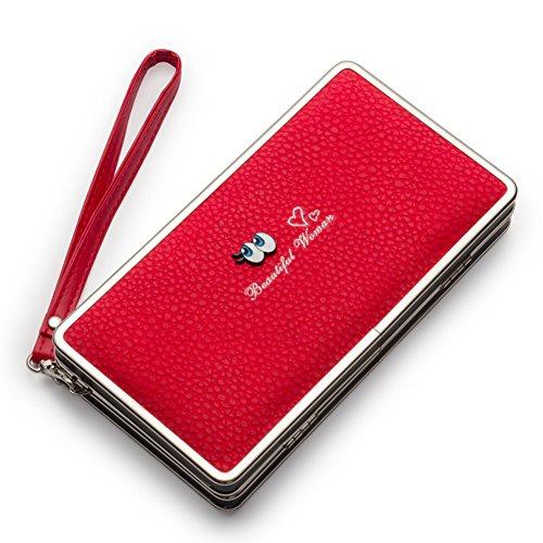 Bonice borsa del portafoglio da donna con la chiusura lampo in pelle PU multifunzione [Grande capacità] Card Slots Case Cover per iPhone 8/8 Plus/iPhone X, iPhone7/7 Plus/6S/6S Plus/6/6 Plus/5/5S/5C/S Occhi-Cover-01