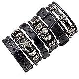 K-Y braccialetto in pelle intrecciato, regolabile, mustistrato, per uomo, con stella, pentagramma, teschio