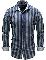 Chemise à manches longues à rayures bleues à manches longues T-shirt rayé élégant à manches longues à manches longues M-3XL