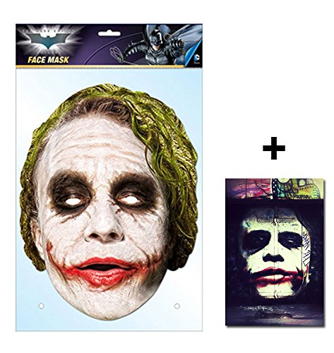 Batman Kostüm Hollywood - Der The Joker Offiziell DC Comics Batman Single Karte Partei Gesichtsmasken (Maske) Enthält 6X4 (15X10Cm) starfoto
