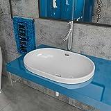 Design Keramik Waschbecken Waschtisch Waschschale Aufsatzwaschbecken Aufsatzwaschtisch Gäste WC Becken KBW249 BxTxH: 60x40x18cm