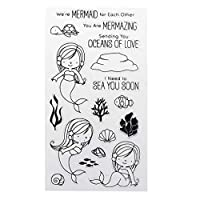 Suweqi PVC Transparent Stamp Seal Cartoon Little Mermaids Patterns DIY Scrapbook Photo Album Card Diary Decor English Letters