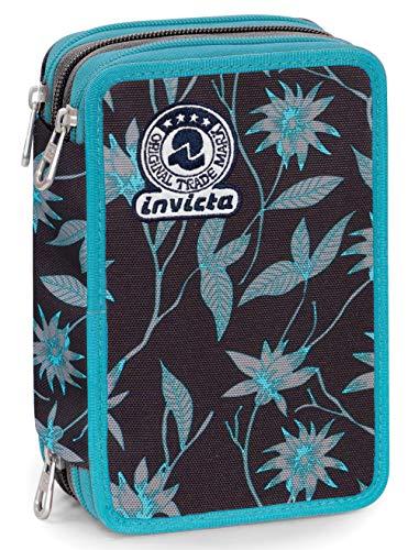 Astuccio 3 zip invicta primerose, nero, con materiale scolastico: 18 pennarelli giotto turbo color, 18 matite giotto laccato...