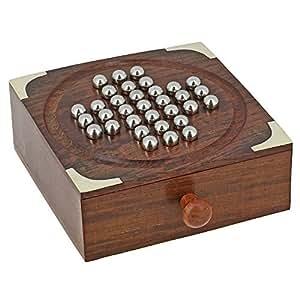 ShalinIndia gioco da tavolo solitario in legno indiano fatto a mano con sfere in acciaio inox - viaggi giochi per adulti