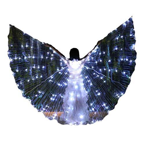Funkelnd Bauchtanz-Flügel + Teleskopstöcke LED Isis Wings für Damen Ägypten Bauchtanz Kostüm Professionel Tanz Requisiten (Professionelle Bauchtanz Kostüm Ägypten)