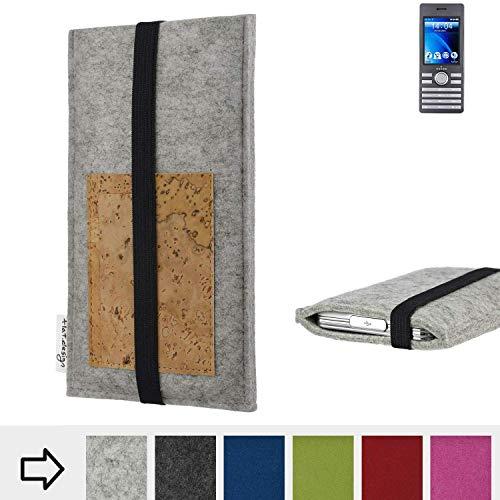 flat.design Handy Hülle Sintra für Kazam Life B6 maßgefertigte Handytasche Filz Tasche Schutz Case Kartenfach Kork