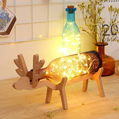 Gaddrt Weihnachts-Elch LED Glasflasche Holzsockel Illusion Nachtschalter Knopf Steuerung Tischlicht Geschenk violett -