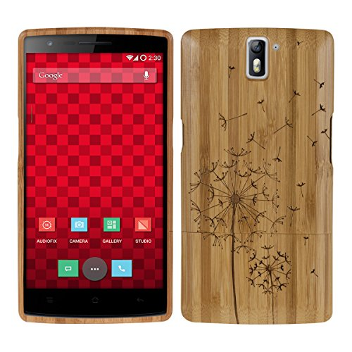 kwmobile OnePlus One (5,5') Cover bambù - Custodia in Bamboo Naturale - Case Rigida Backcover per OnePlus One (5,5')