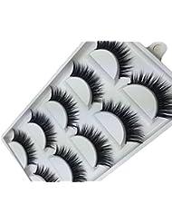 Hosaire 5 Pairs False Lashes Eyelash Long Fiber Reusable Make Up Eyes