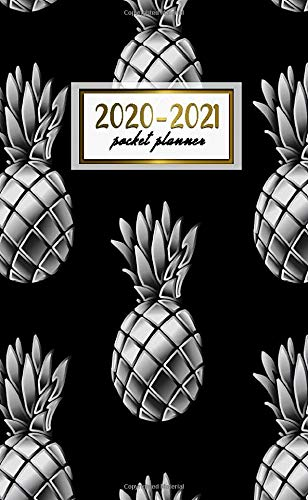 2020-2021 Pocket Planner: Pretty Two-Year Monthly Pocket Planner and Organizer | 2 Year (24 Months) Agenda with Phone Book, Password Log & Notebook | Funky Silver & Black Pineapple Print (Antique Pocket Silver)