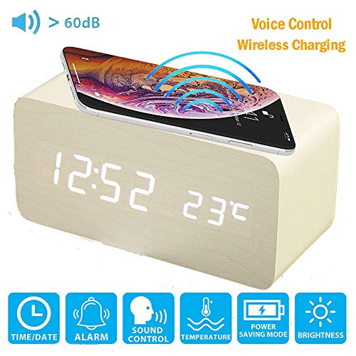 ALLOMN Despertador, Reloj de Control de Voz de Escritorio Digital de Madera, con Carga Inalámbrica...