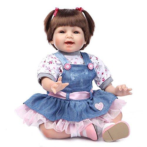 Indische Perücke Prinzessin (NPKDOLL Reborn Baby Puppe Weich Silikon Vinyl 22inch 55cm Magnetisch Mund Naturgetreue Jungen Mädchen Spielzeug Lächeln Prinzessin Perücke Doll)