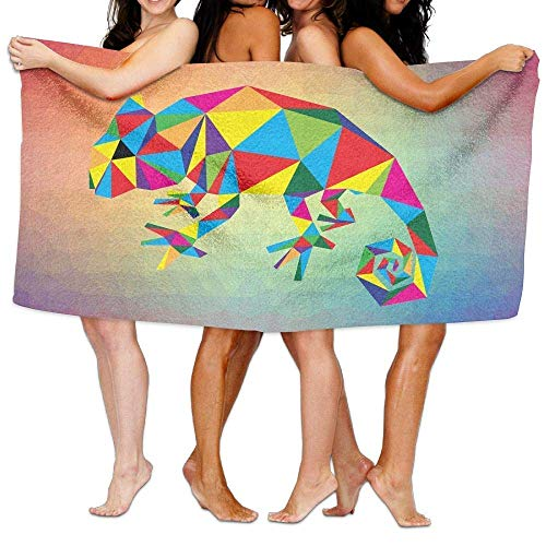 xcvgcxcvasda Oversized Microfiber Beach Towel Blanket Polygonal Geometric Chameleon Super Absorbent Badetuch, Soft, Quick Dry, for Outdoor Camping Sports Travels Quick Drying 31.5 X 51.2 Inch