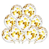 10 Pieces 12 Inch Confetti Balloons Gold Circle Confetti Filled Latex Clear Party Balloon