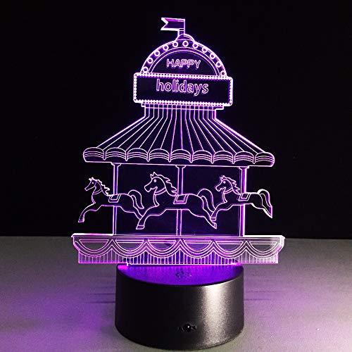 Kreative Illusion 3D Nachtlicht der Karussell-Lampen-LED bunte Atmosphären-Lampen-Neuheits-Beleuchtungs-Kinderfeiertags-Geschenke