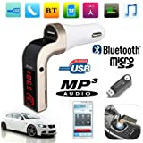 CEUTA , Bluetooth Car Charger Car Charger | FM Kit MP3 Transmitter | USB Handsfree Mobile Car Bluetooth FM Transmitter With USB Flash Drives/TF Music Player Bluetooth | Car Kit USB Car Charger | Compatible For All Android & IOS Mobiles (Color May Vary