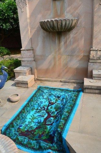 UrbanCharm Wandteppich, Dschungelbaum des Lebens, indischer Wandteppich, indischer Hippie-Wandbehang, Trennwand, Picknickdecke, Stranddecke, Tischdecke