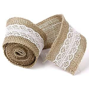 WINOMO 2M Nastro Pizzo della tela di iuta iuta pizzo mestiere del nastro per di nozze fai da te bricolage casa decor(Beige)